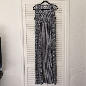 LOFT Black and White Maxi Dress